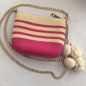 Mini straw shoulder/crossbody bag, striped.